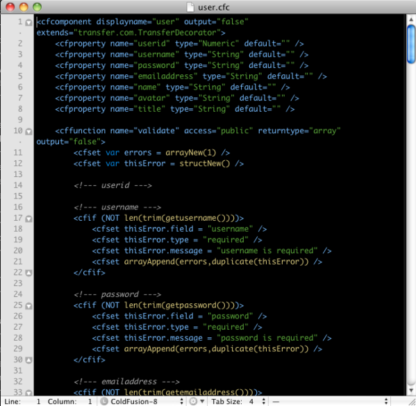 TextMate coldfusion code syntax highlighter