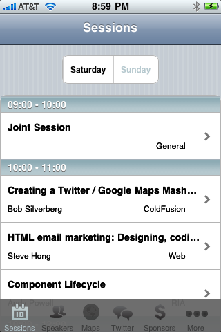NCDevCon iPhone App - Sessions
