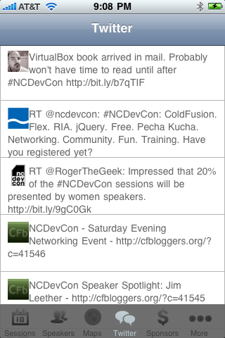 NCDevCon iPhone App - Twitter Screen