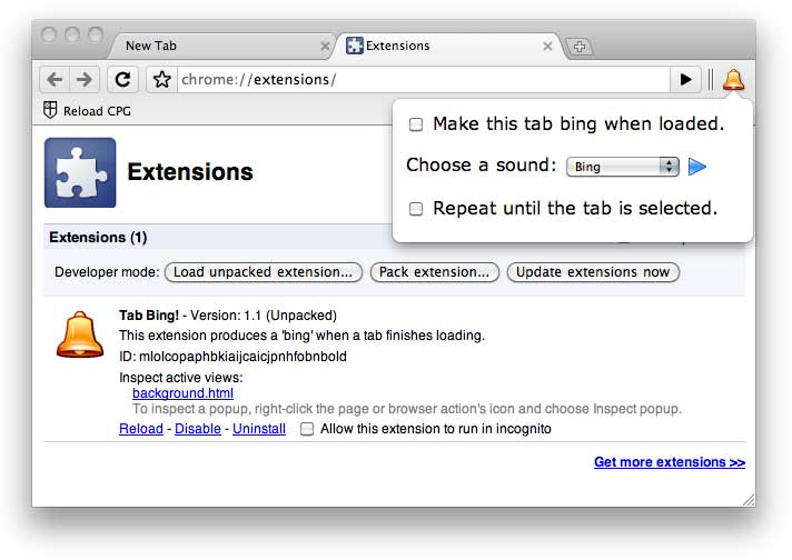 The Extension's Popup